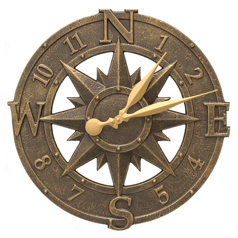 16 in. Compass Rose Indoor Outdoor Wall Clock
