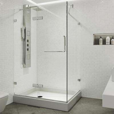 Monteray 40.25 in. x 79.25 in. Frameless Hinged Shower Enclosure in Chrome with Clear Glass with Left Base in White