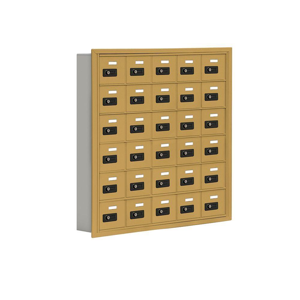 19000 Series 37 in. W x 36.5 in. H x 5.75 in. D 30 A Doors R-Mount Resettable Locks Cell Phone Locker in Gold