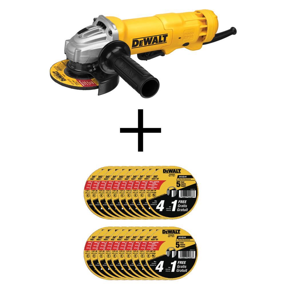 DEWALT 11-Amp Corded 4-1/2 in. Small Angle Grinder w/ Bonus 4-1/2 in. Metal and Stainless Cutting Wheel (100-Pack) was $278.8 now $159.97 (43.0% off)