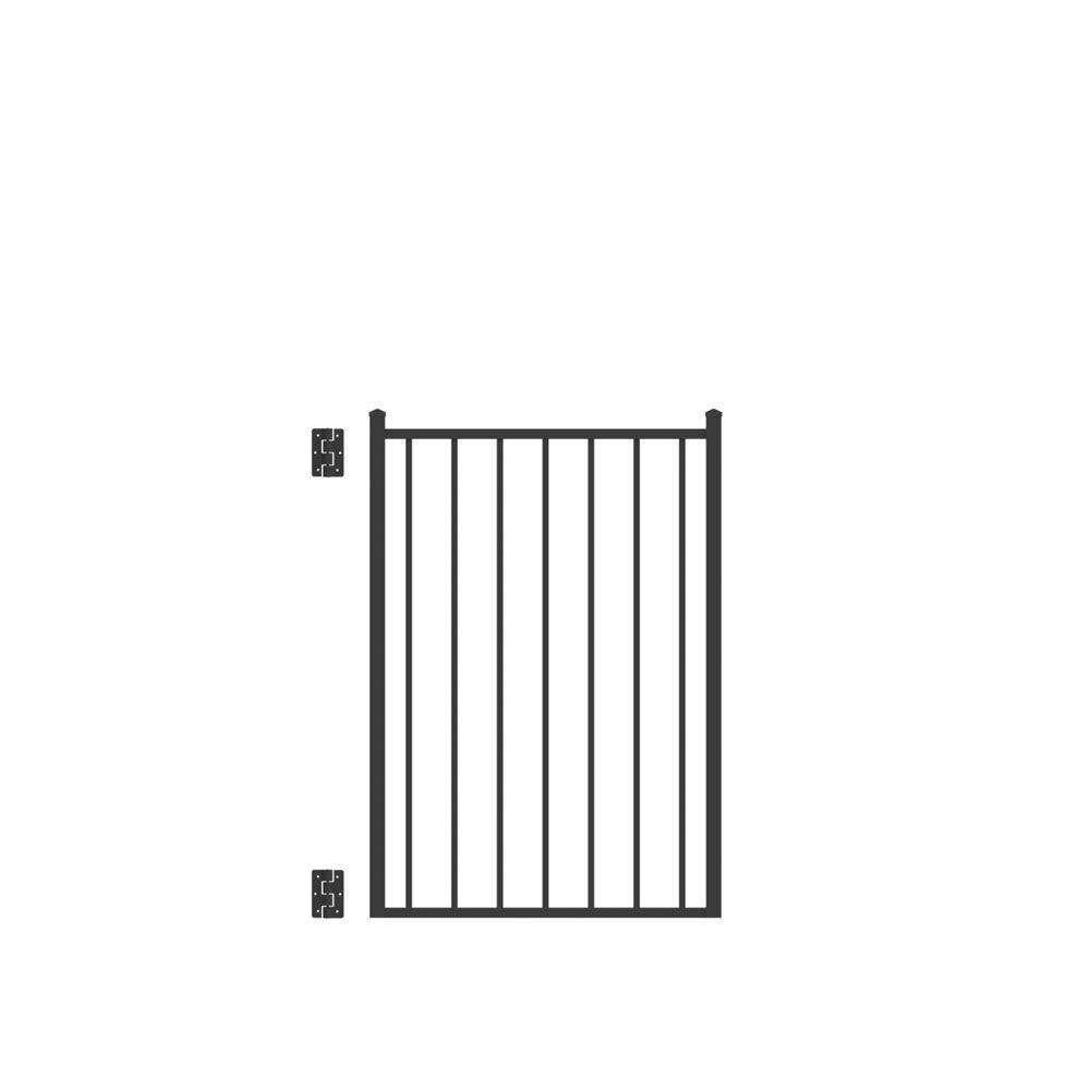 Beechmont Standard-Duty 3 ft. W x 4 ft. H Black Aluminum Pre-Assembled Fence Gate