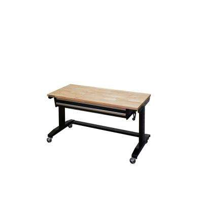 52 in. Adjustable Height Workbench Table with 2-Drawers in Black
