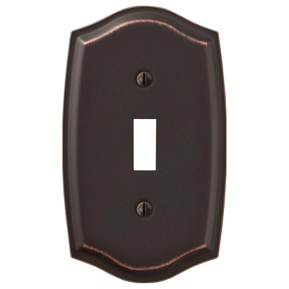 hampton bay Hampton Bay Vineyard 1 Toggle Wall Plate - Oil-Rubbed Bronze Steel, Aged Bronze