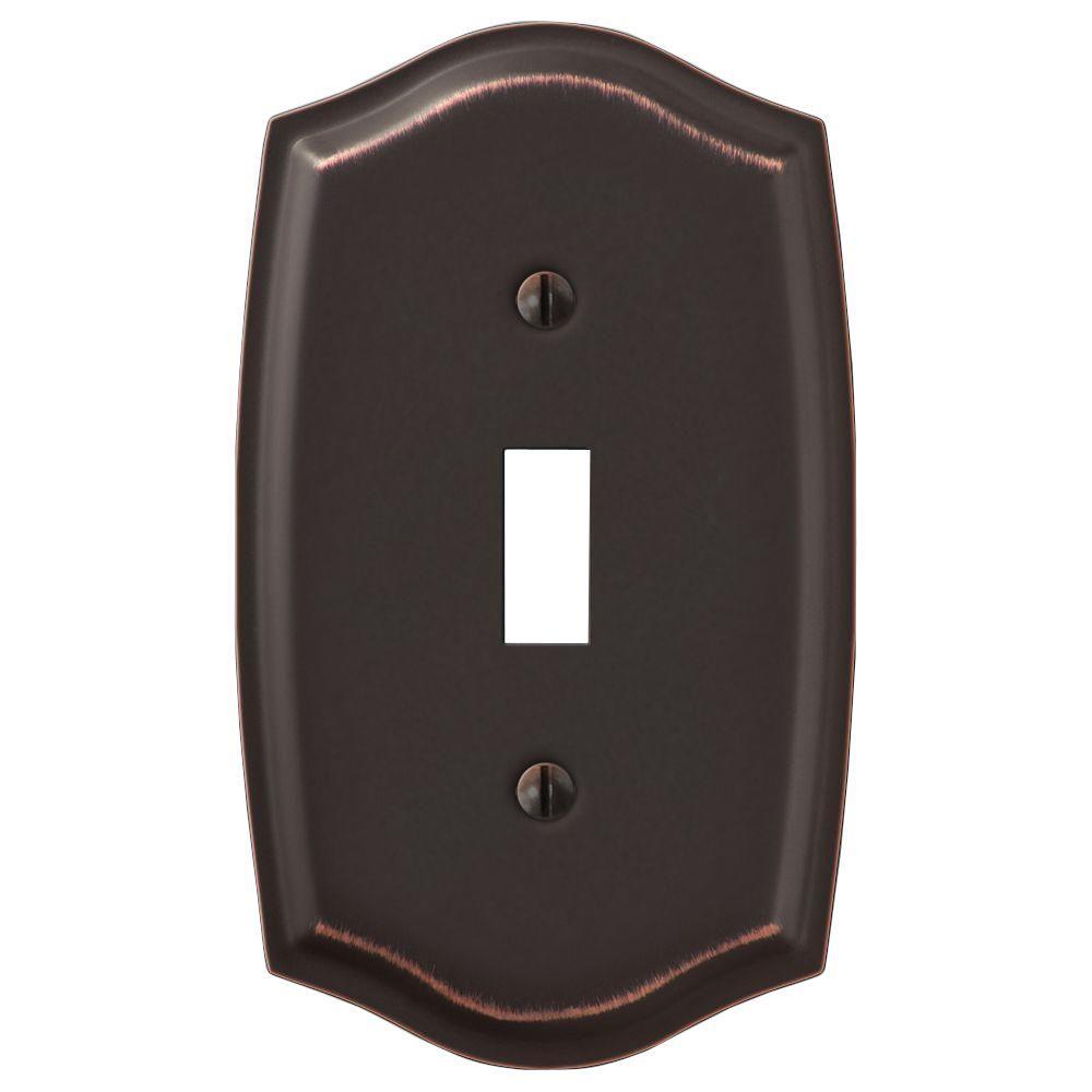 Vineyard 1 Gang Toggle Steel Wall Plate - Aged Bronze