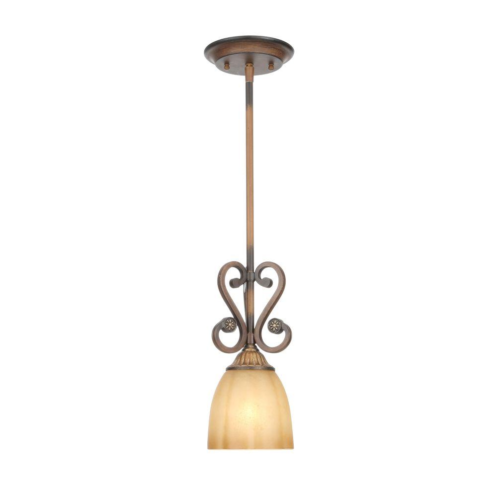 Chateau deville 1 light walnut mini pendant with champagne glass shades
