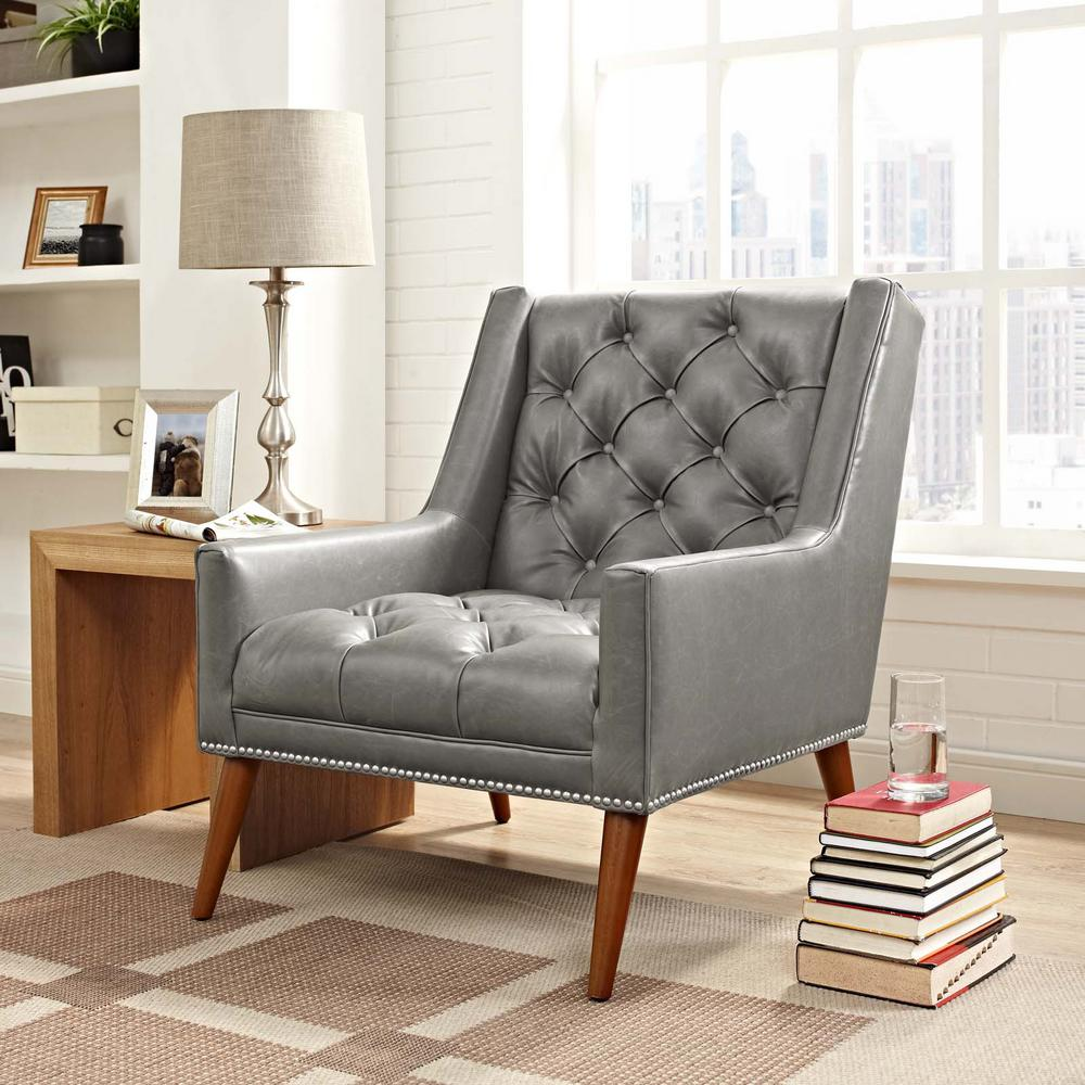 MODWAY Peruse Gray Faux Leather Armchair