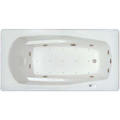 5.92 ft. Left Drain Drop-in Rectangular Whirlpool and Air Bath Tub in White with Tranquility Package