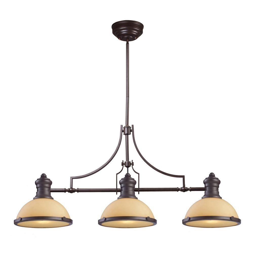 Titan Lighting Chadwick 3-Light Oiled Bronze Island Light With Amber Glass Shades  sc 1 st  Home Depot & Titan Lighting Chadwick 3-Light Oiled Bronze Island Light With Amber ...