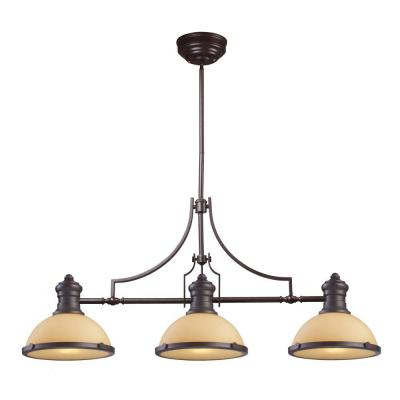 Chadwick 3-Light Oiled Bronze Island Light With Amber Glass Shades