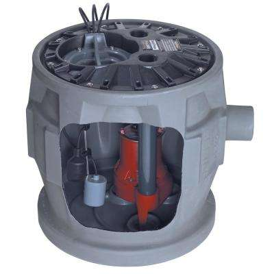 Pro380 Series 1/2 HP Submersible Pre-Assembled Simplex Sewage System with LE51 Pump, 24 in. x 24 in. Polyethylene Basin