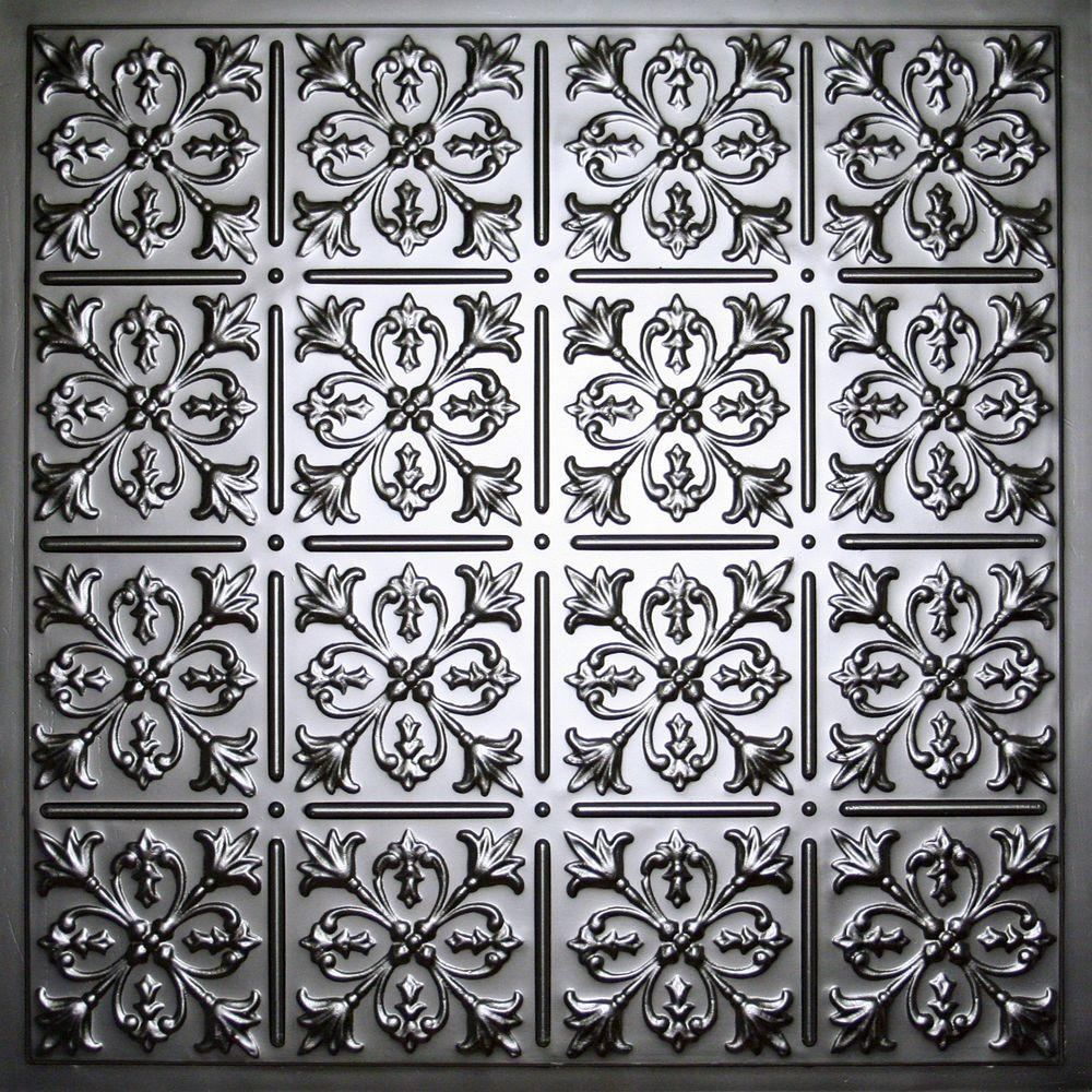 Fleur-de-lis Black 2 ft. x 2 ft. Lay-in or Glue-up Ceiling