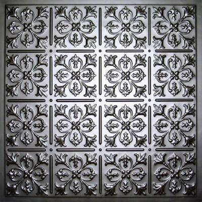 Fleur-de-lis Black 2 ft. x 2 ft. Lay-in or Glue-up Ceiling Panel (Case of 6)
