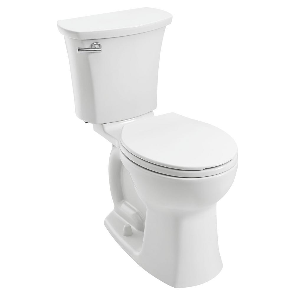 American Standard Edgemere 10 in. Rough-In 2-Piece 1.28 GPF Single Flush Right Height Round Front Toilet in White, Seat Not Included