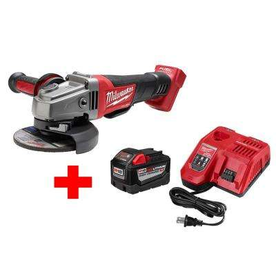 M18 FUEL 18-Volt Lithium-Ion Cordless 4-1/2 in./5 in. Grinder Paddle Switch No-Lock W/ M18 9.0Ah Starter Kit