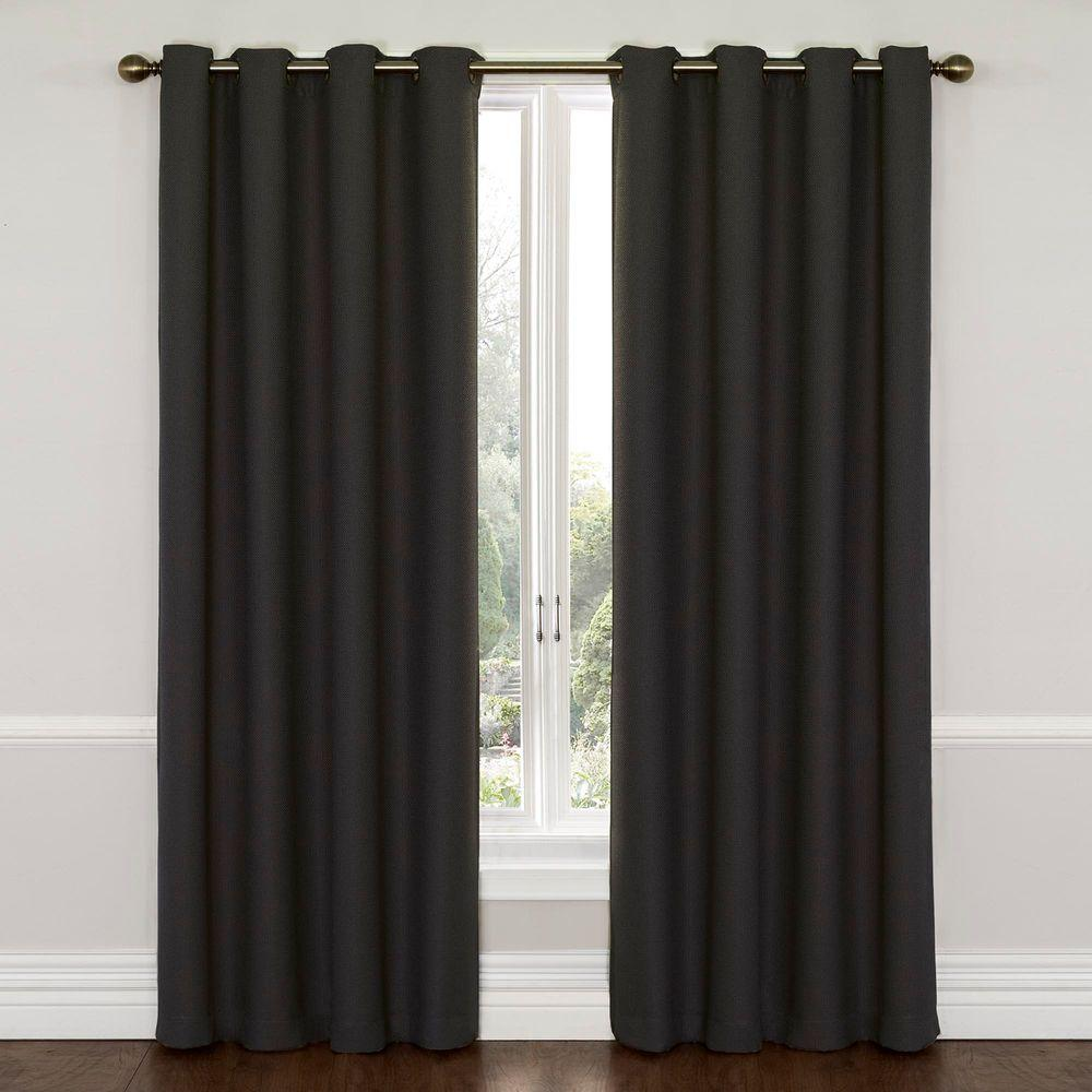 Eclipse Wyndham Blackout Window Curtain Panel in Charcoal - 52 in. W x 84 in. L