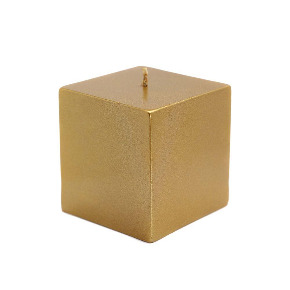 3 in. x 3 in. Metallic Bronze Gold Square Pillar Candles Bulk (12-Case)