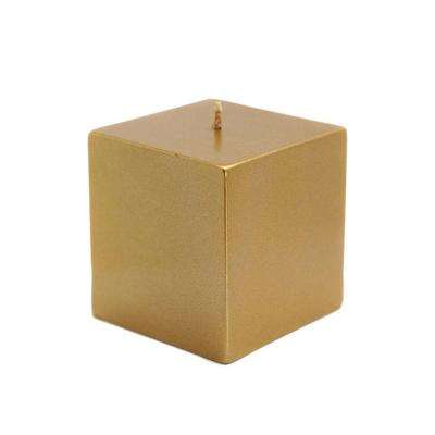 3 in. x 3 in. Metallic Bronze Gold Square Pillar Candles Bulk (12-Case)