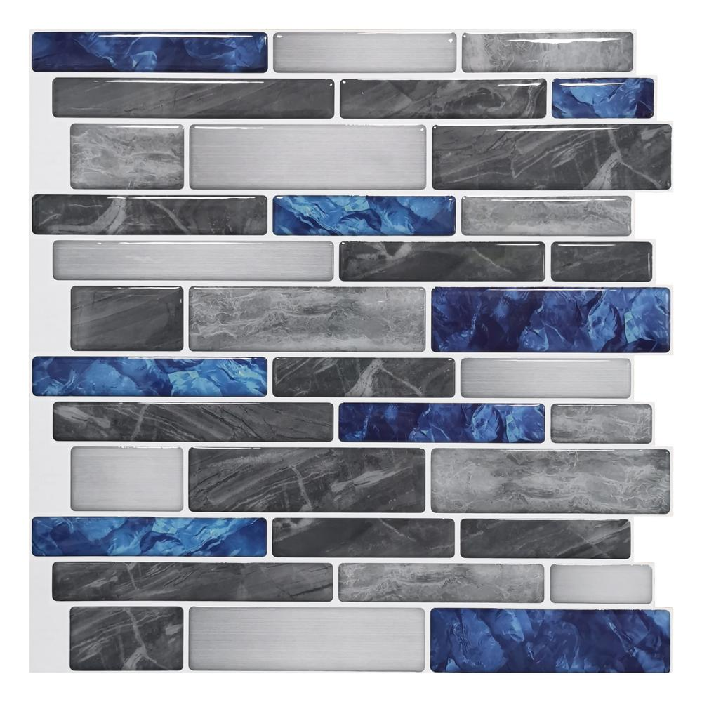 Art3dwallpanels 12 In X 12 In Peel And Stick Backsplash Tile For Kitchen Self Adhesive Blue Marble Wall Tile 10 Sheets H17hd011 The Home Depot