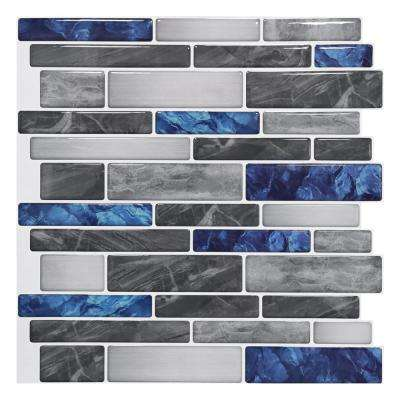 12 in. x 12 in. Peel and Stick Backsplash Tile for Kitchen Self-Adhesive Blue Marble Wall Tile (10-sheets)