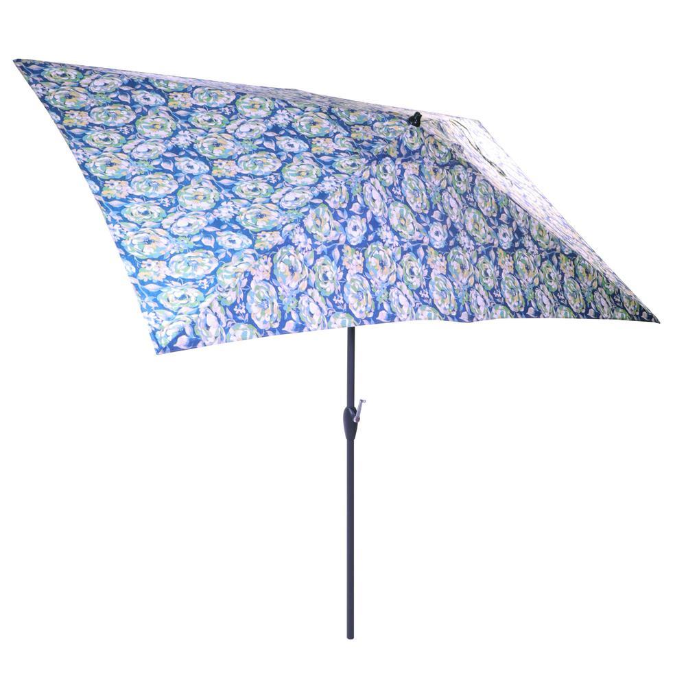 10 ft. x 6 ft. Aluminum Market Patio Umbrella in Surplus Floral with Push-Button Tilt