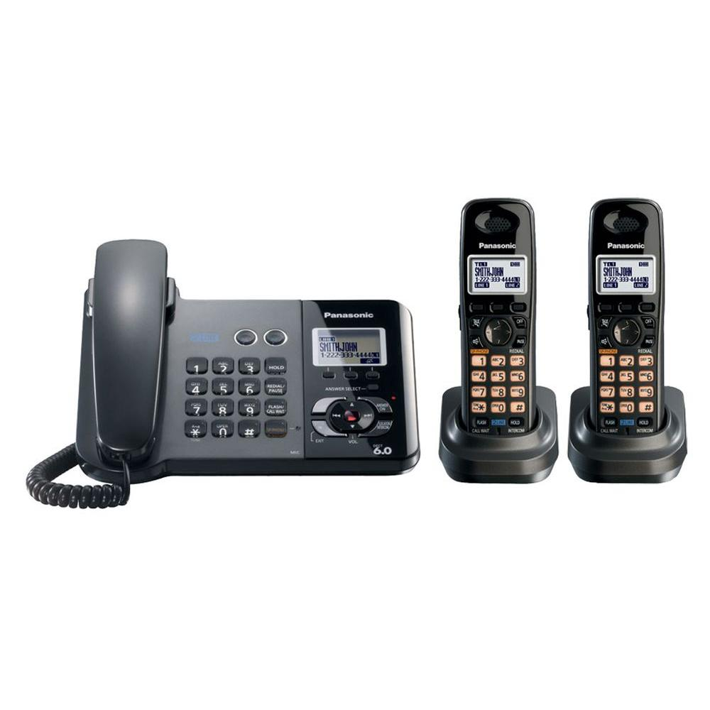 Panasonic DECT 6.0 2-Line Corded/Cordless Phone with Digital Answering System and 2 Handsets