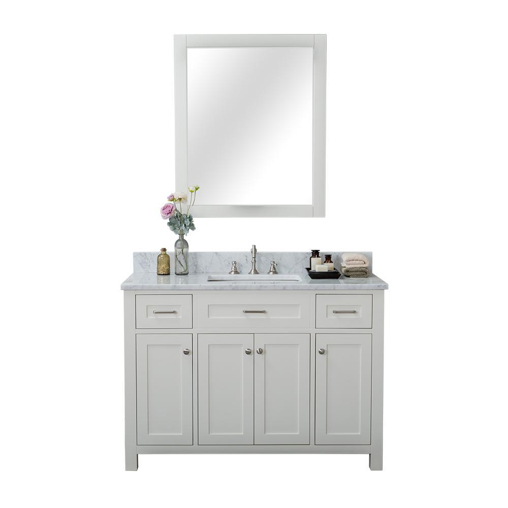 Norwalk 48 in. W x 34.2 in. H x 22 in. D Vanity in White with Marble Vanity Top in White with White Basin