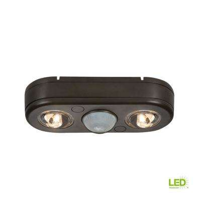 Revolve 180-Degree Bronze Twin Head Motion Activated Outdoor Integrated LED Security Flood Light at 5000K Daylight