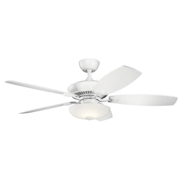 Canfield Pro 52 in. LED Indoor Matte White Downrod Mount Ceiling Fan with Light Kit and Wall Control