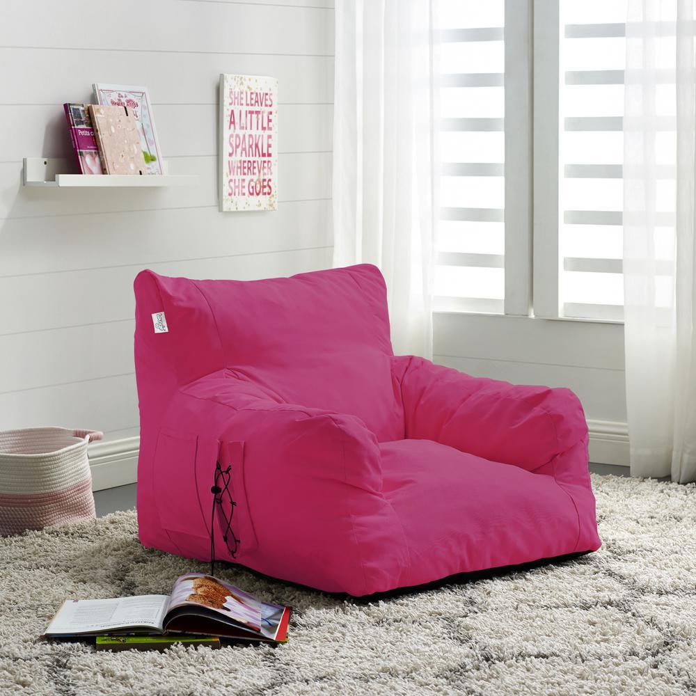 Comfy Fuchsia Bean Bag Arm Chair Nylon Foam Lounger