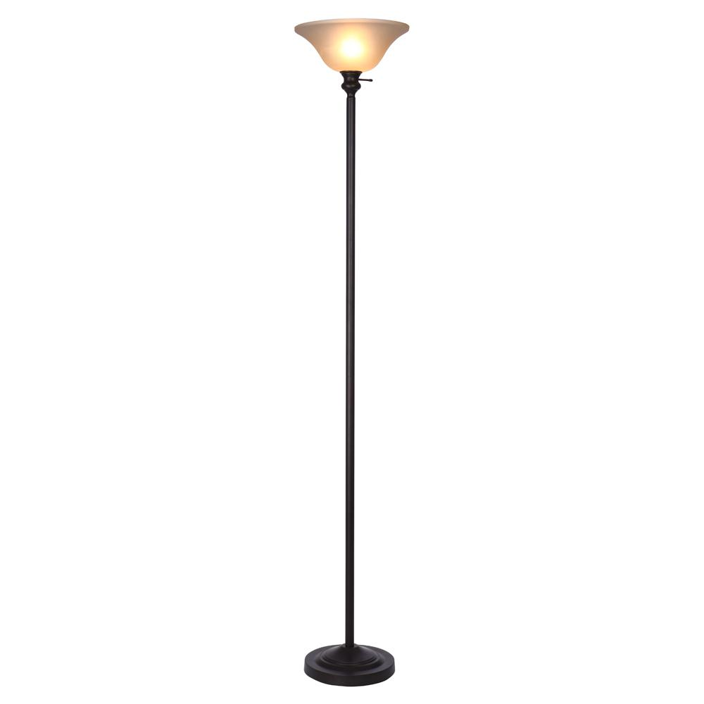 Bronze Torchiere Floor Lamp With Frosted Plastic Shade