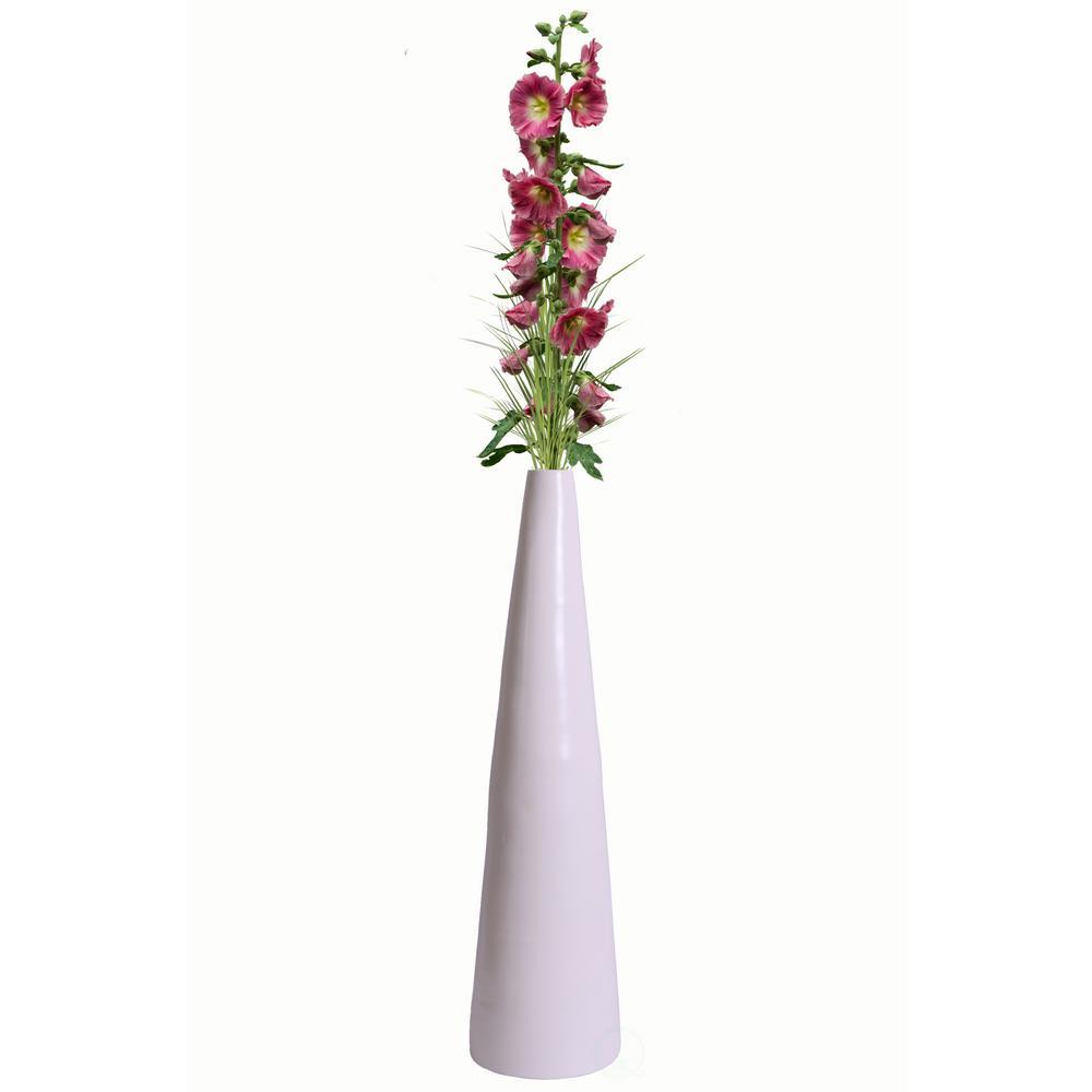 30.5 in. Spun White Bamboo Contemporary Tall Floor Vase