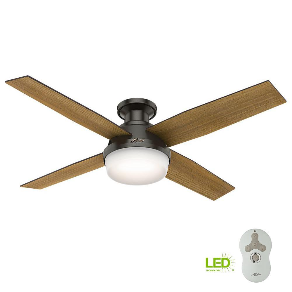 Dempsey 52 In Low Profile Led Indoor Noble Bronze Ceiling Fan