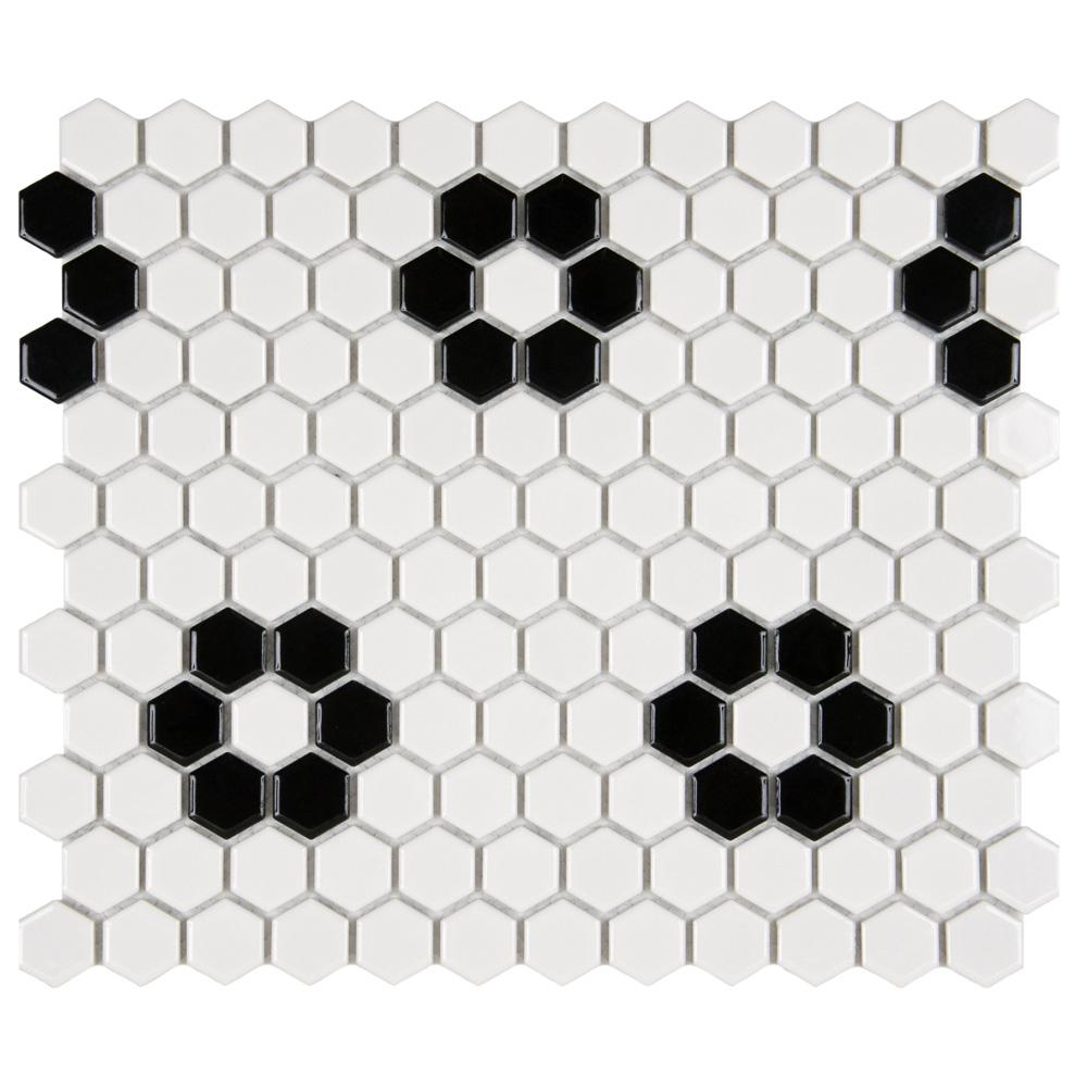 Metro Hex Glossy White with Heavy Flower 10-1/4 in. x 11-3/4