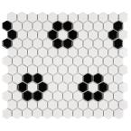 Metro Hex Glossy White with Heavy Flower 10-1/4 in. x 11-7/8 in. Porcelain Mosaic Tile (8.65 sq. ft./Case)