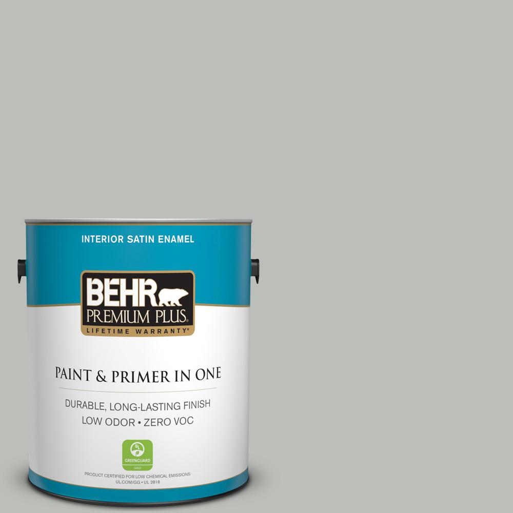 1 gal. #PPU24-17 Hailstorm Gray Satin Enamel Zero VOC Interior Paint