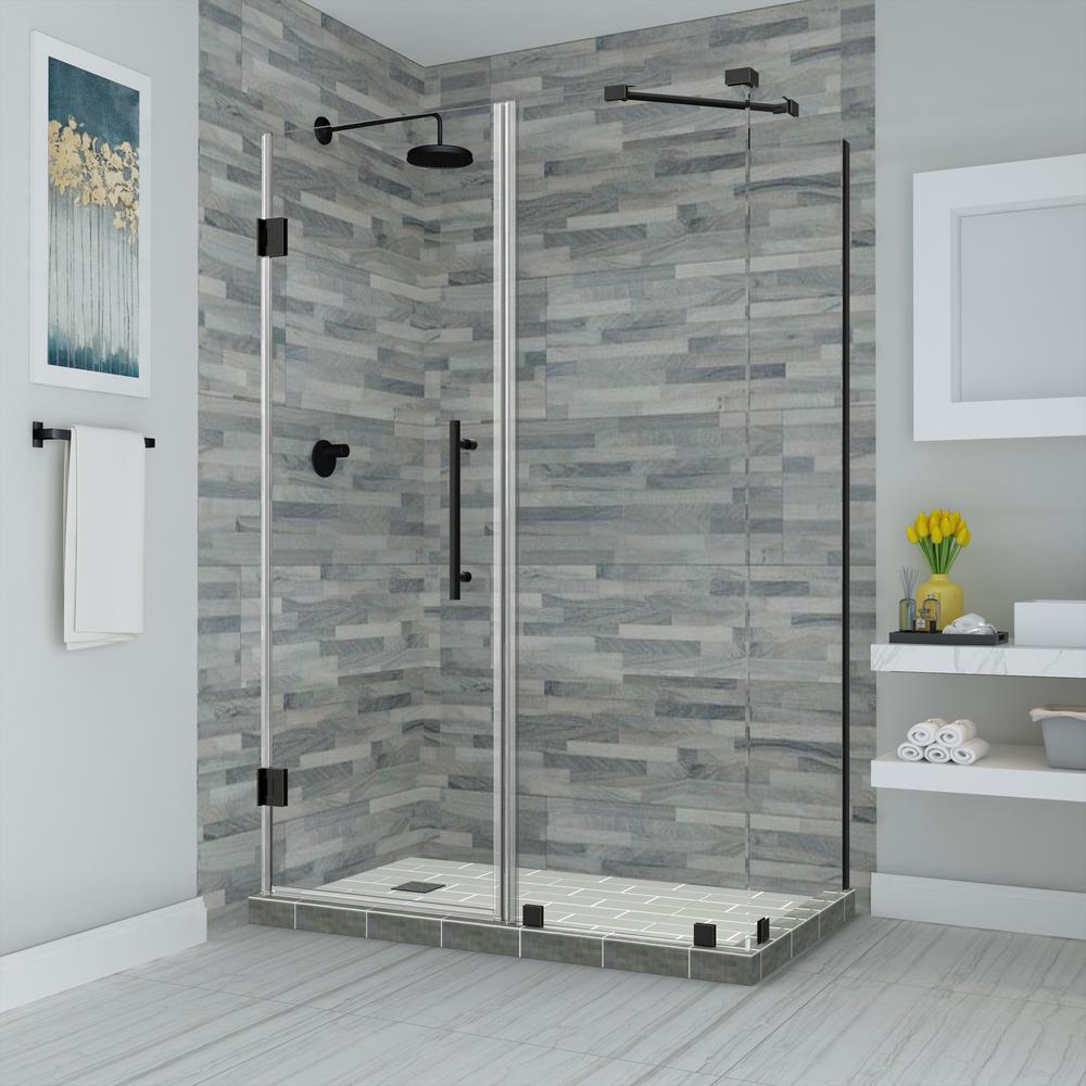 Aston Bromley 73 25 In To 74 25 In X 30 375 In X 72 In Frameless Corner Hinged Shower Enclosure In Matte Black Sen967ez Mb 743630 10 The Home Depot