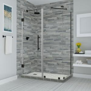 Bromley 48.25 in. to 49.25 in. x 36.375 in. x 72 in. Frameless Corner Hinged Shower Enclosure in Matte Black