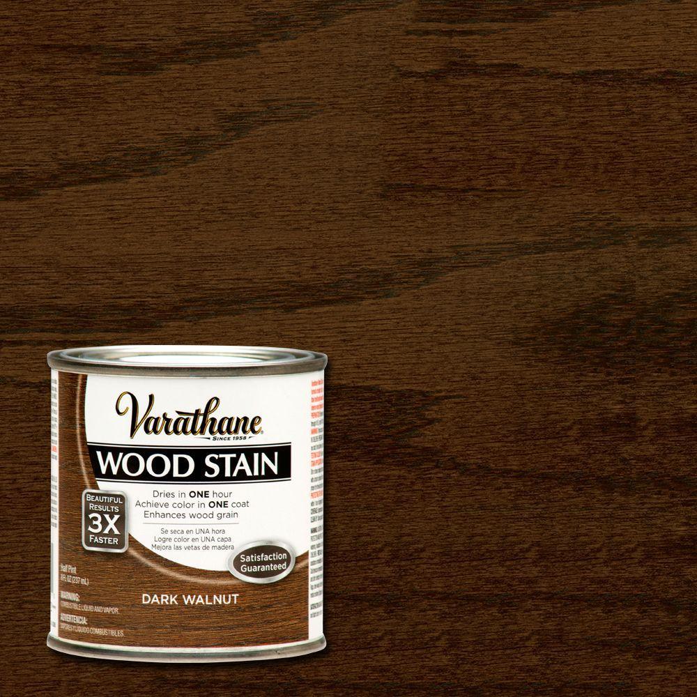 varathane 1 2 pt dark walnut wood stain 266198 the home depot. Black Bedroom Furniture Sets. Home Design Ideas