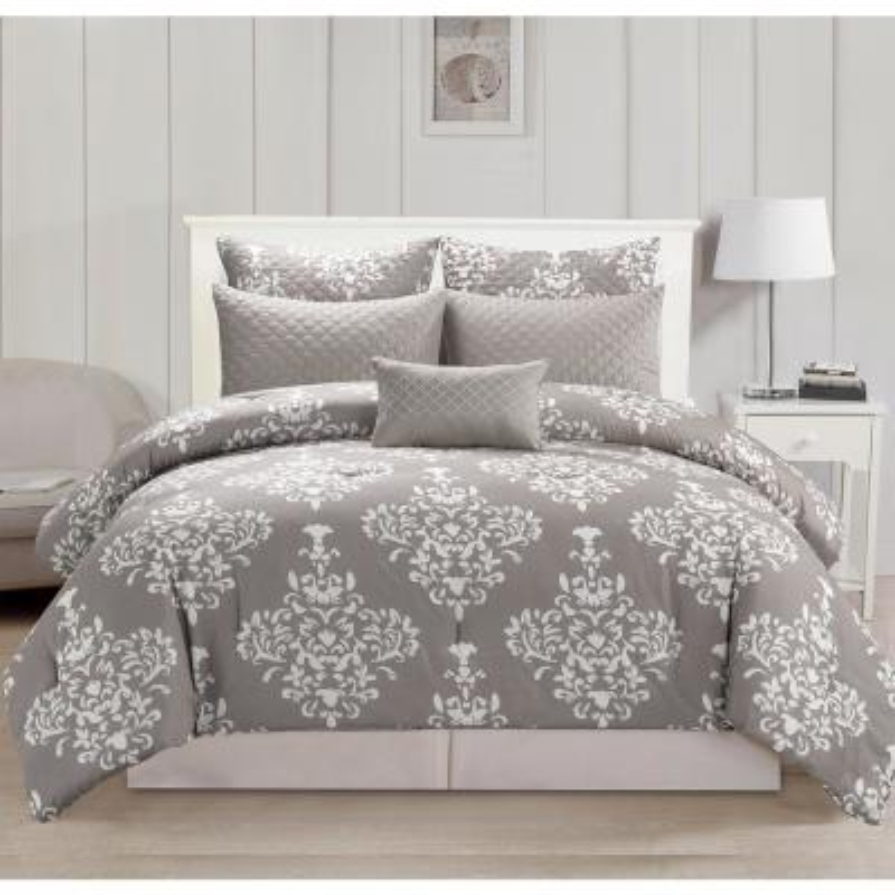 Alisa Quilted Oversize/Overfilled 10pc Queen Comforter Set in Grey
