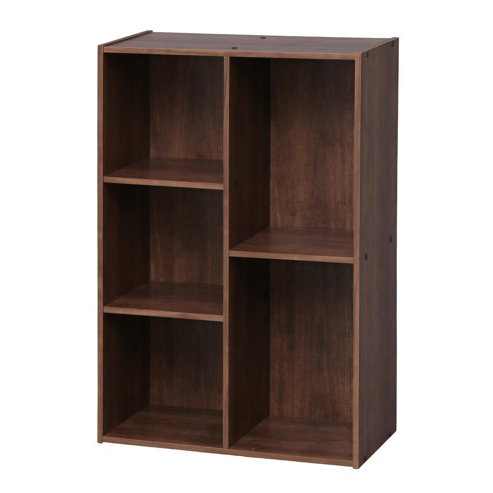 5-Compartment Brown Wood Organizer Bookcase Storage Shelf