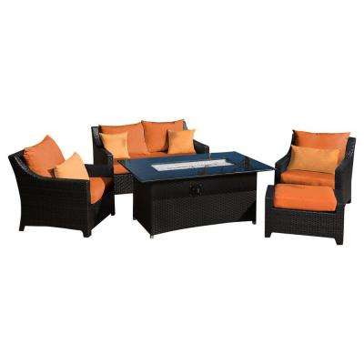 Deco 5-Piece Love and Club Patio Fire Pit Seating Set with Tikka Orange Cushions