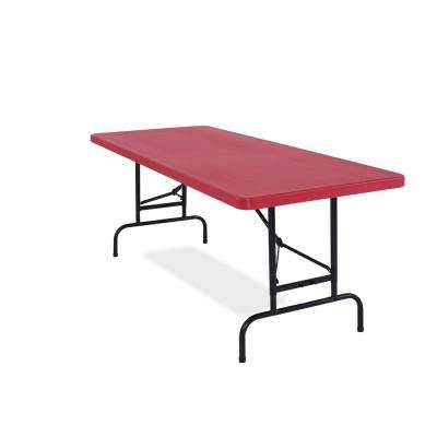 72 in. Red Plastic Adjustable Height Folding High Top Table