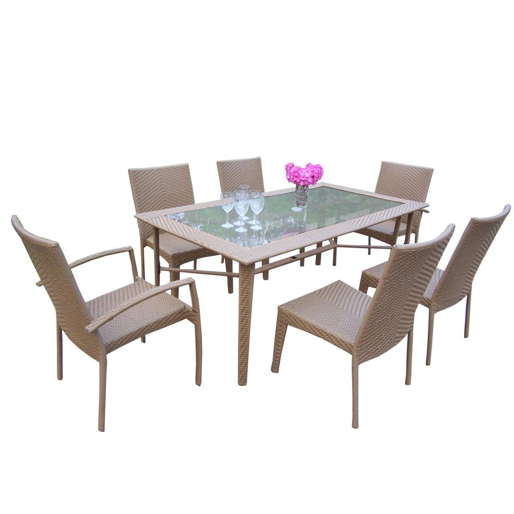 7-Piece Wicker Outdoor Sectional Set with No Cushions