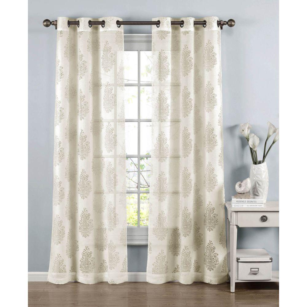 Sheer Penelope Cotton Blend Burnout 84 In L Grommet Curtain Panel Pair Ivory Set Of 2