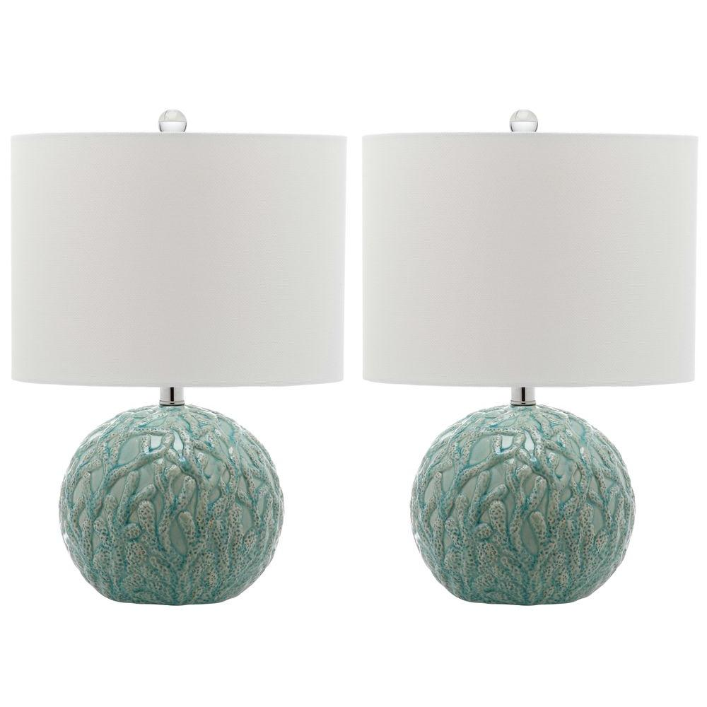Safavieh georgia 30 in blue table lamp lit4054a the home depot light blue table lamp with off white shade set aloadofball Gallery