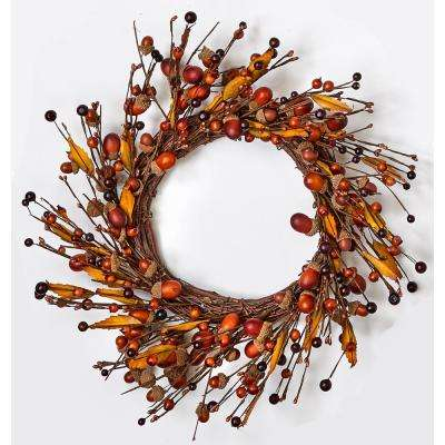 14 in. Acorn and Leaf Wreath