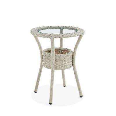Haven Beige Round All-Weather Wicker Outdoor Side Table with Storage