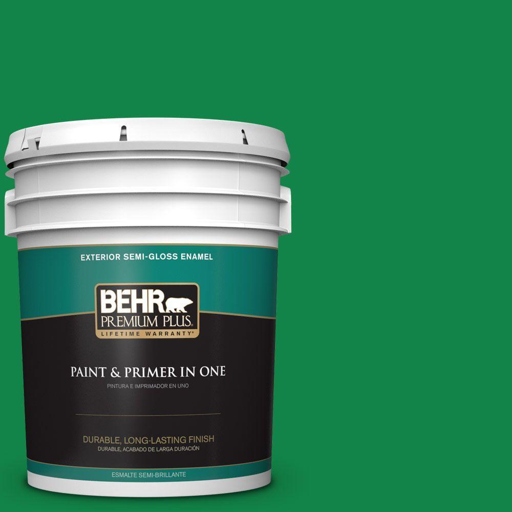 BEHR Premium Plus 5-gal. #460B-6 Chlorophyll Semi-Gloss Enamel Exterior Paint