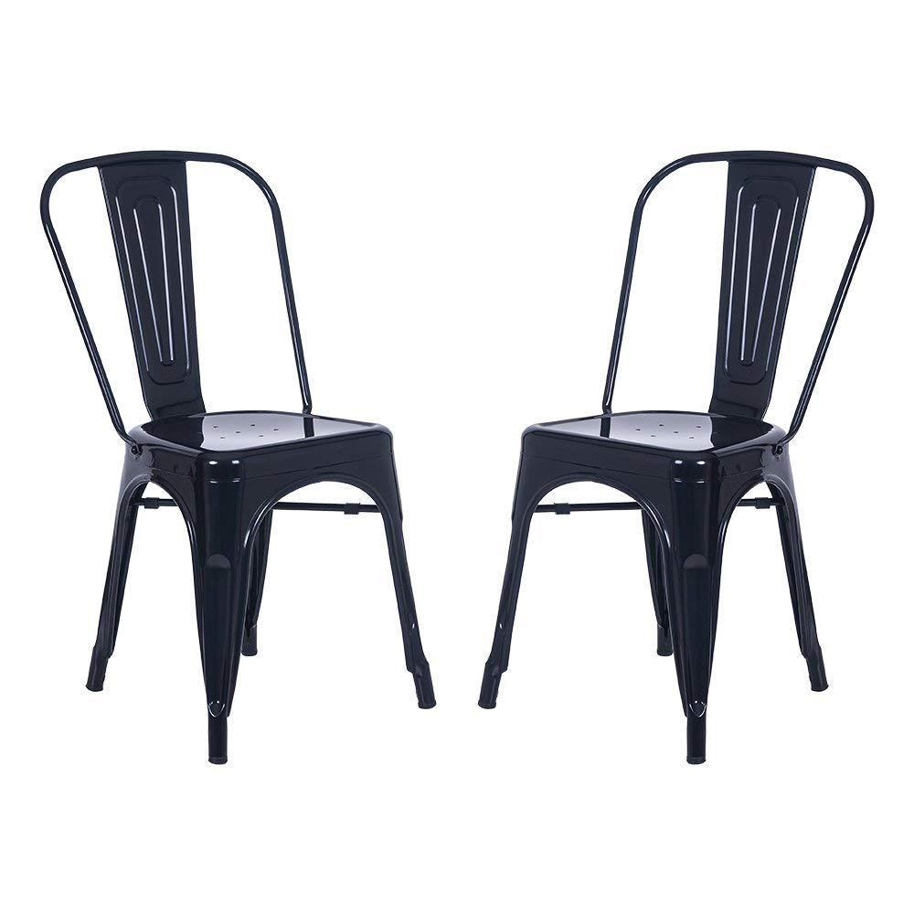 Black Metal Dining Chair (Set of 2)