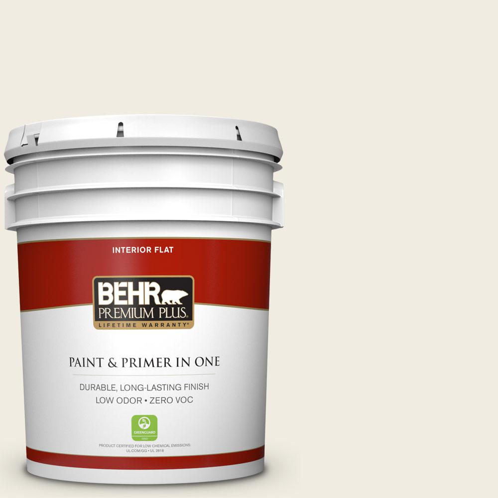 BEHR Premium Plus 5 gal. #12 Swiss Coffee Flat Zero VOC Interior Paint